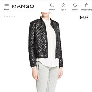 MNG XL(12/14) Glossy Quilted Bomber Jacket